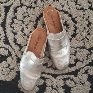 Free People metallic silver loafers